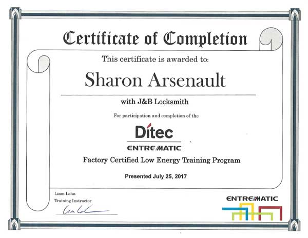 Ditec Training certificate Sharon