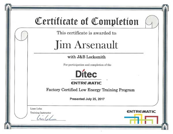 Ditec Training certificate Jim