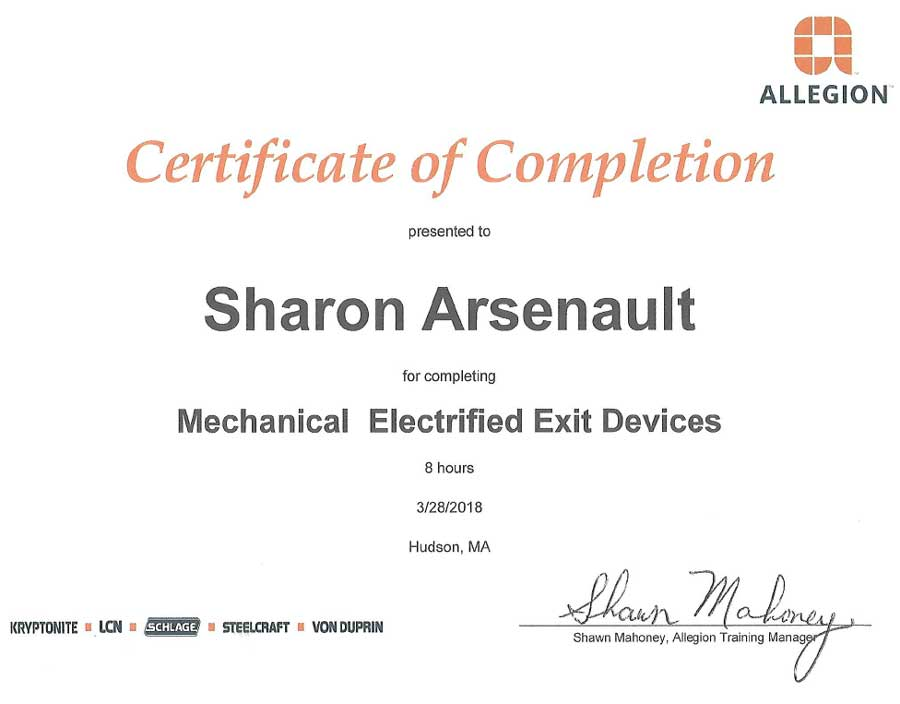 Mechanical Exit Devices Certification Sharon