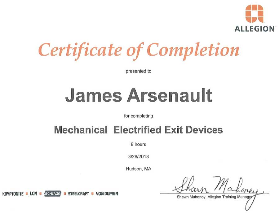 Mechanical Exit Devices Certification Jim